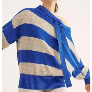 NWT Free people cobalt combo off shoulder sweater